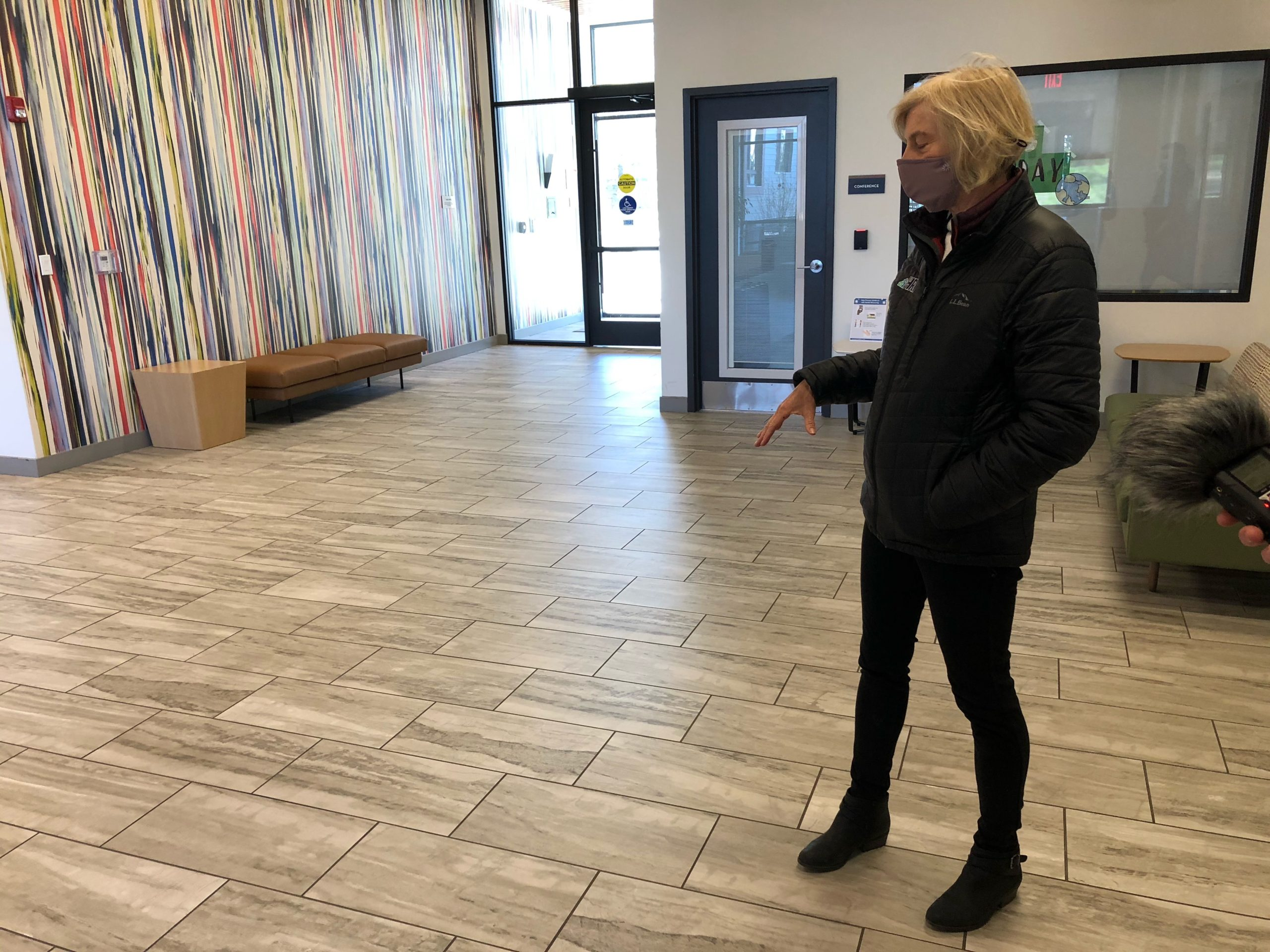 Jane in the lobby of Finch