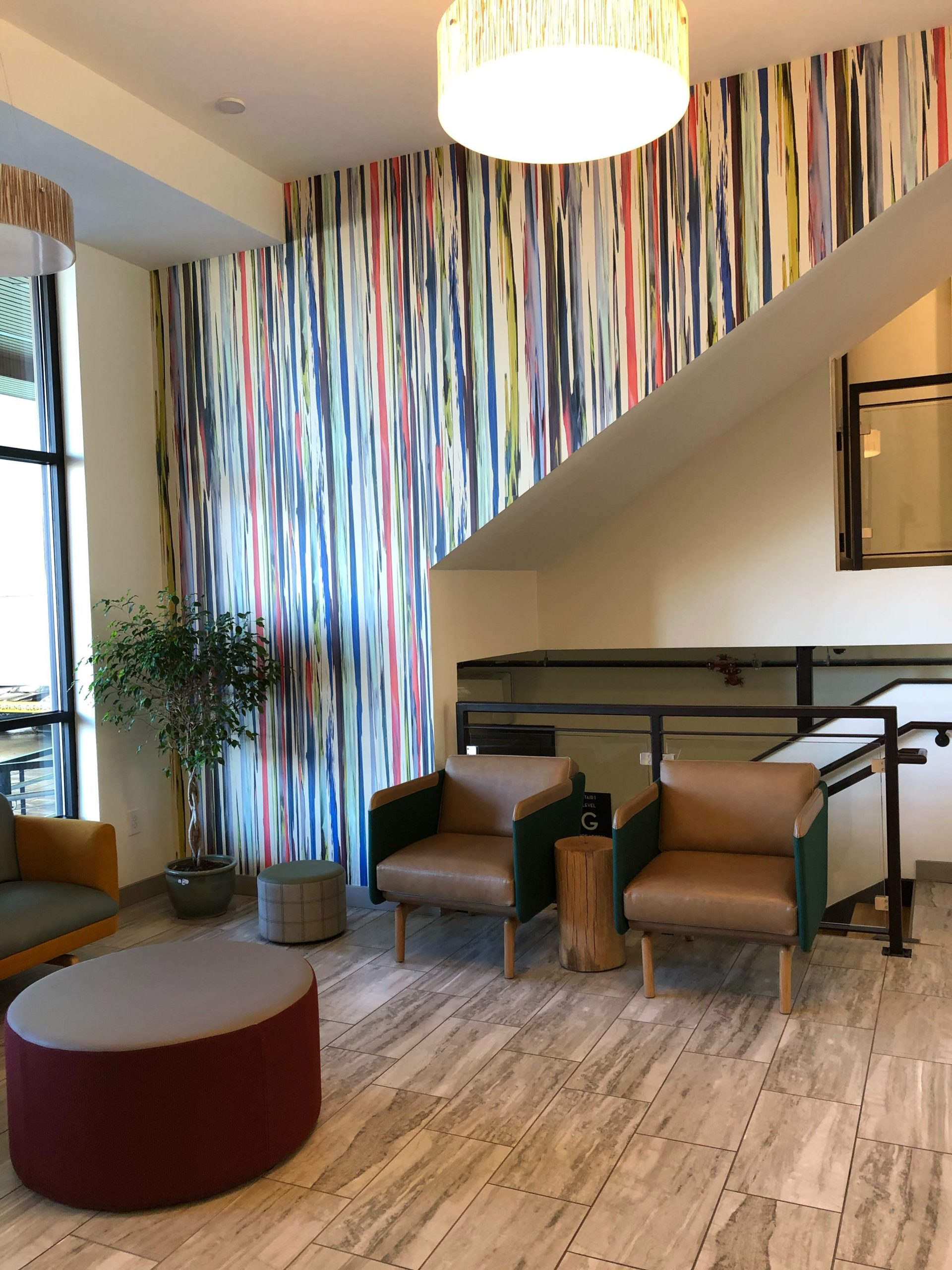 The lobby offers a comfortable place to sit for residents