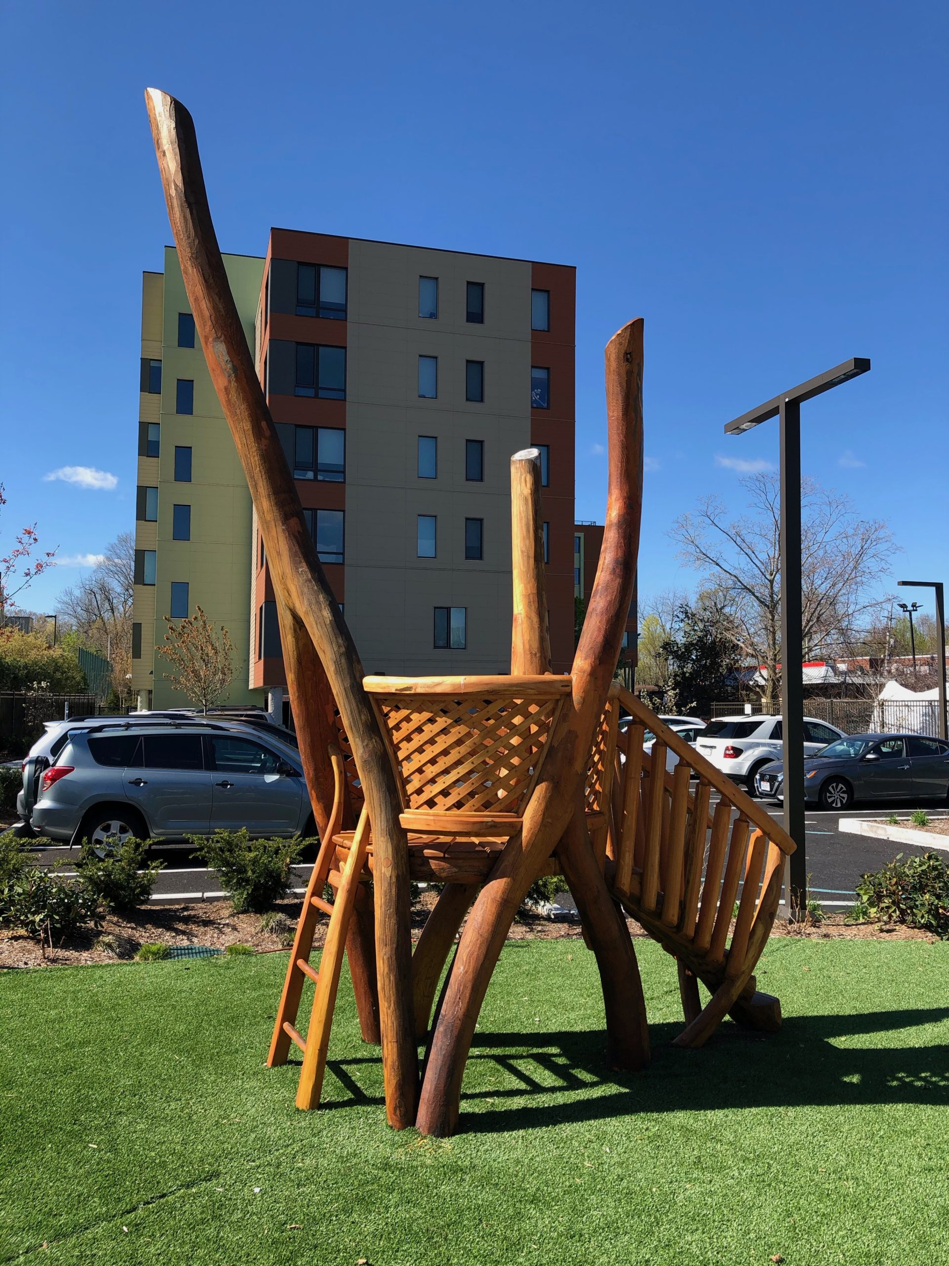 A beautiful play structure in the pocket park