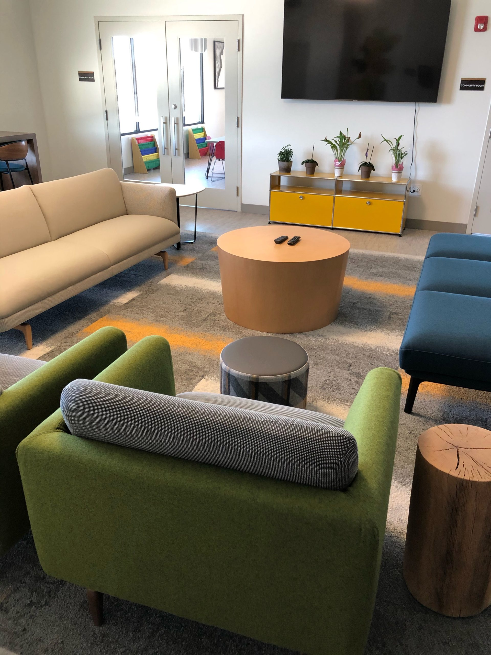 The lounge on the top floor